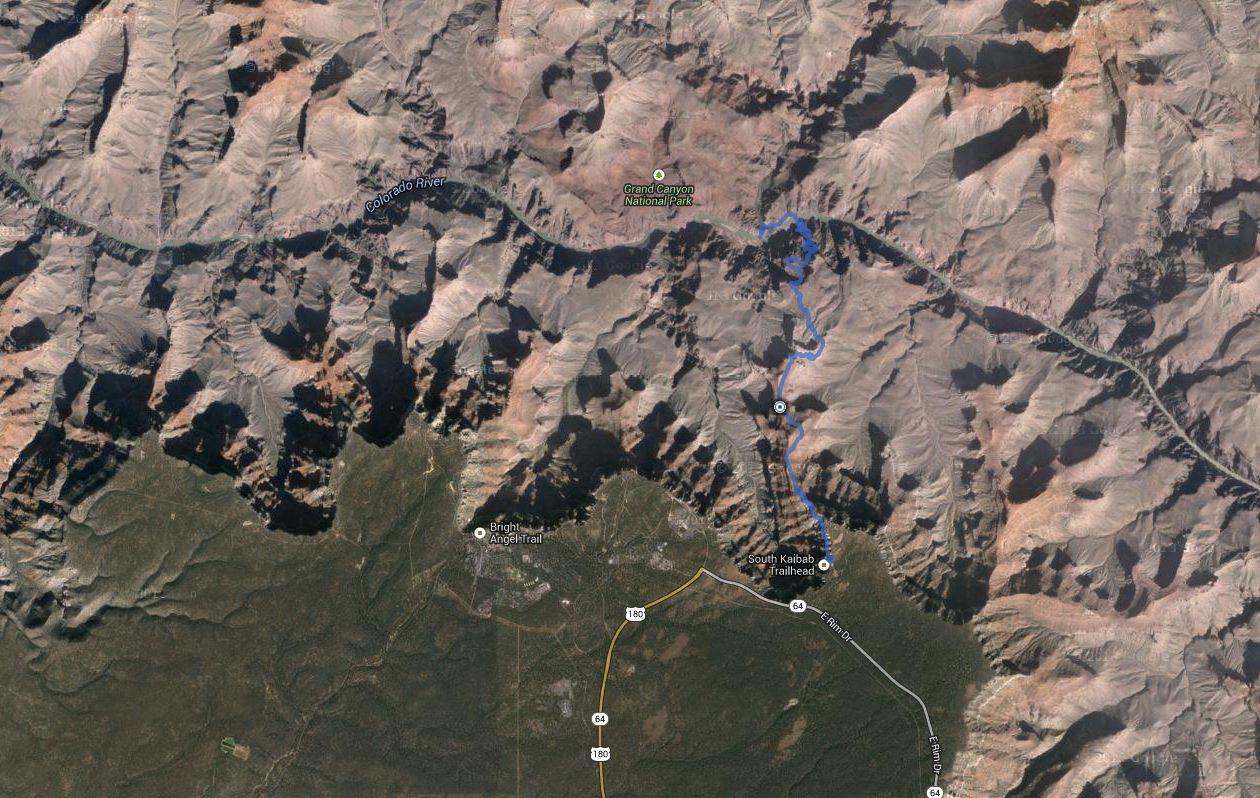 Grand Canyon – South Rim to Phantom Ranch (via Kaibob Trail) – GPS Track