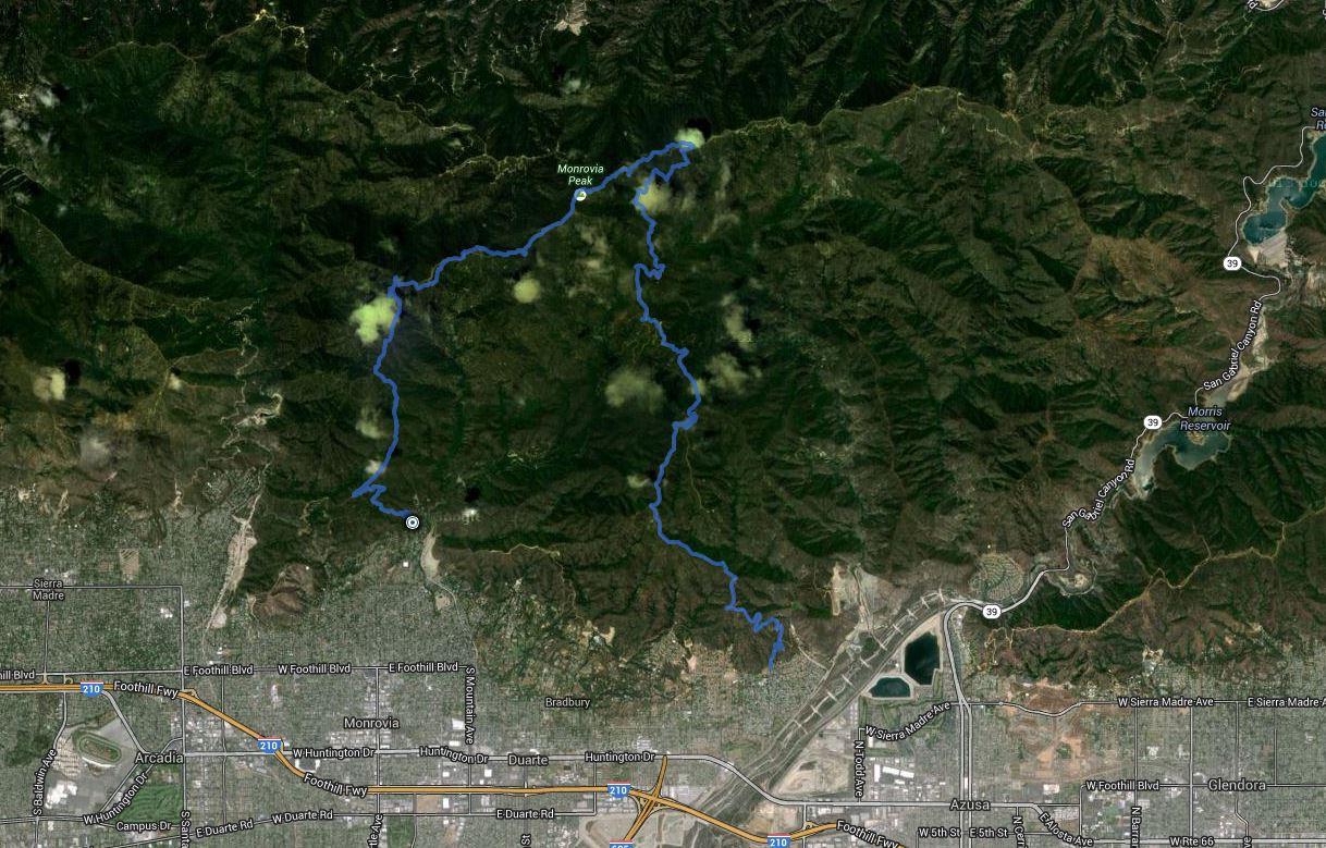 Clamshell Peak, Rankin Peak, Monrovia Peak, Mount Bliss – GPS Track