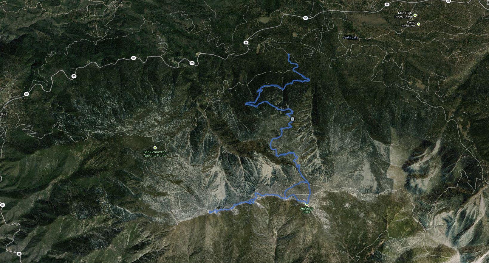 San Bernardino Peak, San Bernardino East Peak, Anderson Peak – GPS Track