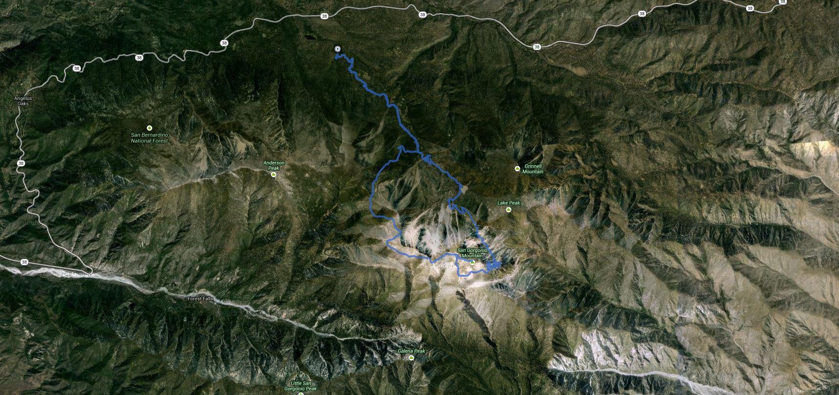 San Gorgonio Mountain – Loop – Up via Dry Lake, Down via Dollar Lake – GPS Track
