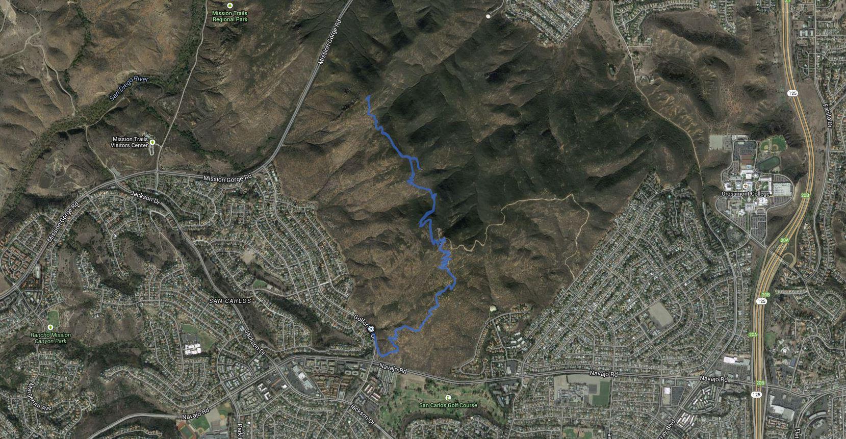 Cowles Mountain, Peak 1380, Pyles Peak – GPS Track