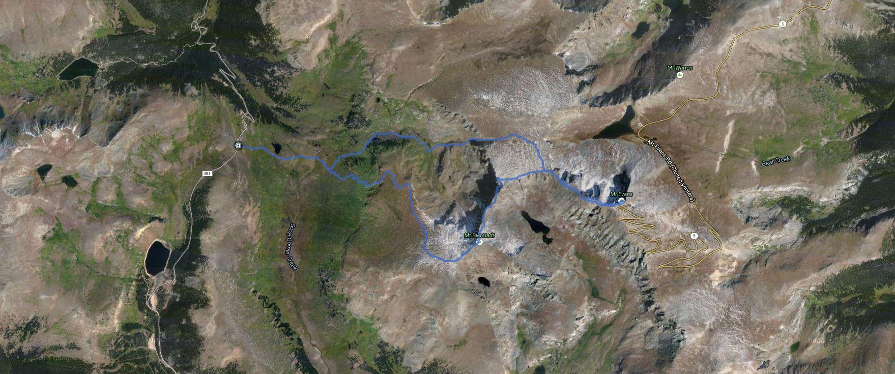 Mount Bierstadt, West Evans, Mount Evans (CO) – GPS Track