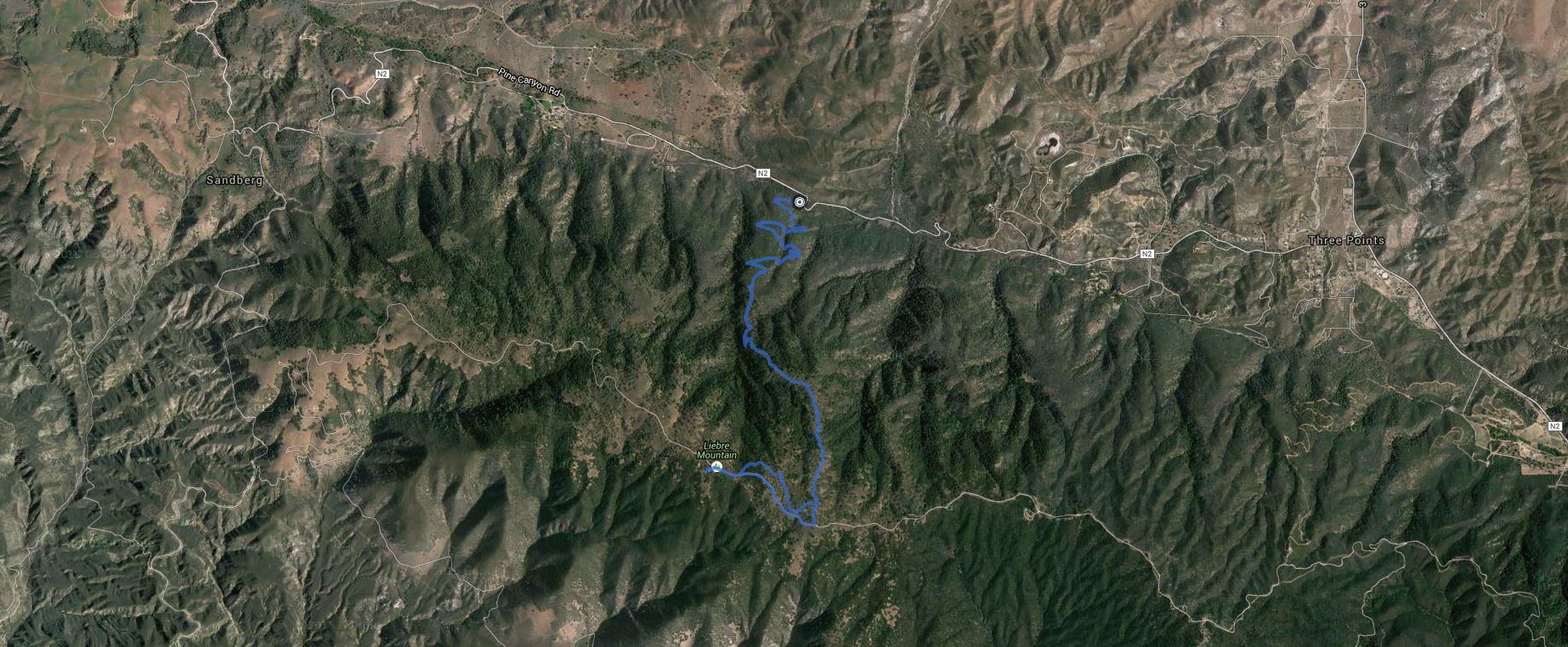 Liebre Mountain,  Liebre Mountain Ridge HP – GPS Track